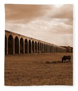 Harringworth Viaduct And Horses Grazing Fleece Blanket