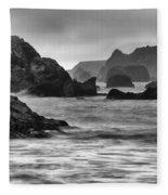Harris Beach Oregon Monochrome Fleece Blanket
