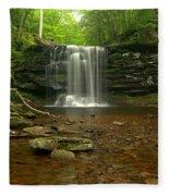 Harrison Wrights Falls In The Forest Fleece Blanket
