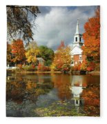 Harrisville New Hampshire - New England Fall Landscape White Steeple Fleece Blanket