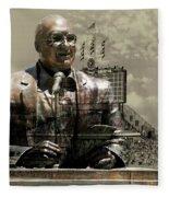 Harry Caray Statue With Historic Wrigley Scoreboard In Heirloom Fleece Blanket