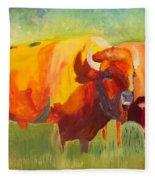 Hartsel Bison Family In Springtime Fleece Blanket