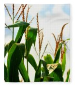 Harvest Corn Stalks Fleece Blanket