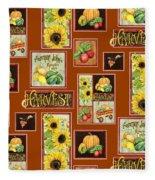 Harvest Market Pumpkins Sunflowers N Red Wagon Fleece Blanket