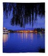 Harveston Lake At Night Fleece Blanket