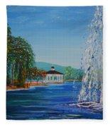 Harveston Lake Fountain Fleece Blanket
