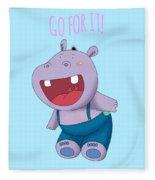 Harvey Hippo Go For It Lt Fleece Blanket