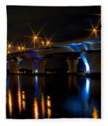 Hathaway Bridge At Night Fleece Blanket
