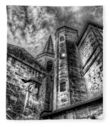 Haunted Church In Black And White Fleece Blanket
