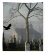 Haunted Halloween Cemetery Fleece Blanket