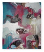 Haunted Voice-blue Red Painting Fleece Blanket