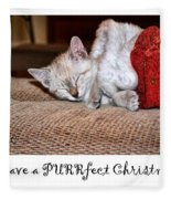 Have A Purrfect Christmas Fleece Blanket
