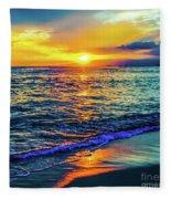 Hawaii Beach Sunset 149 Fleece Blanket