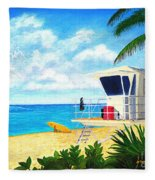 Hawaii North Shore Banzai Pipeline Fleece Blanket