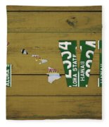 Hawaii State Love License Plate Art Phrase Fleece Blanket