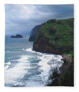 Hawaiian Black Sand Beach Fleece Blanket
