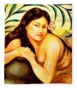 Hawaiian Girl Fleece Blanket