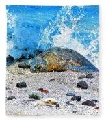 Hawaiian Green Turtle Honu Fleece Blanket