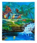Hawaiian Hut And Waterfalls Fleece Blanket