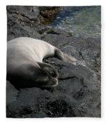 Hawaiian Monk Seal Ilio Holo I Ka Uana Fleece Blanket
