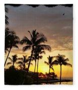 Hawaiian Sunset Design Fleece Blanket