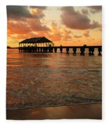 Hawaiian Sunset Hanalei Bay 1 Fleece Blanket