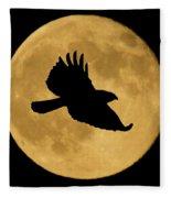 Hawk Flying By Full Moon Fleece Blanket