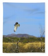 Hawk In Flight Over The Desert Fleece Blanket