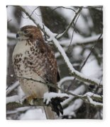 Hawk In Winter Fleece Blanket