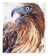 Hawk Watercolor Fleece Blanket