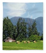 Hay Bales And A Barn - Kalispell Montana Fleece Blanket