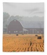 Hay Bales And Red Barn At Sunrise Fleece Blanket