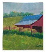 Hay Bales In Morning Light Fleece Blanket