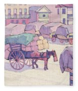 Hay Carts - Cumberland Market Fleece Blanket