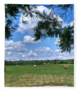 Hay Field In Summertime Fleece Blanket