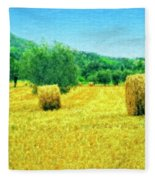 Hay Harvest In Tuscany Fleece Blanket