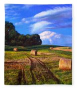 Hay Rolls On The Farm By Christopher Shellhammer Fleece Blanket
