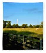 Hayfield With Distant Cell Tower Fleece Blanket