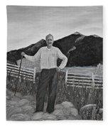 Haymaker With Pitchfork B W Fleece Blanket