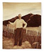 Haymaker With Pitchfork Vintage Fleece Blanket