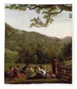 Haymakers Picnicking In A Field Fleece Blanket