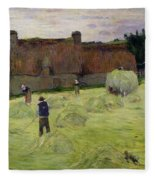 Haymaking In Brittany Fleece Blanket