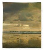Haystack Sunset Panorama Fleece Blanket
