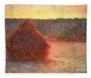 Haystacks At Sunset Fleece Blanket