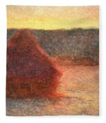 Haystacks At Sunset Fleece Blanket