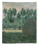 Haystacks Near Giverny Fleece Blanket