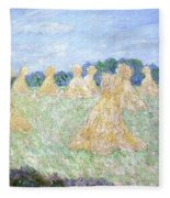 Haystacks The Young Ladies Of Giverny Sun Effect Fleece Blanket