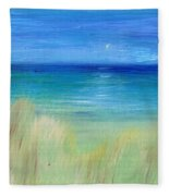 Hazy Beach Mini Oil On Masonite Fleece Blanket