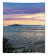 Hazy Evening Sunset Fleece Blanket