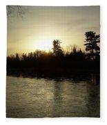 Hazy Mississippi River Sunrise Fleece Blanket